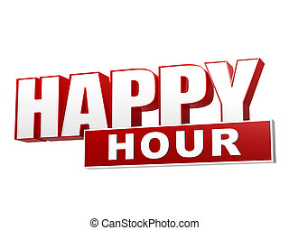 happy hour red white banner - letters and block - text happy...
