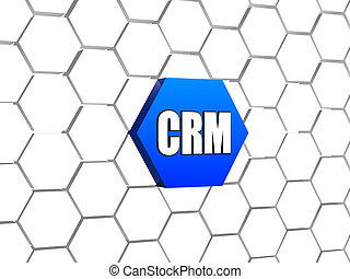 CRM sign in blue hexagon