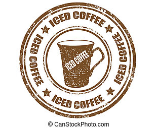 Iced coffee-stamp - Grunge rubber stamp with text Iced...