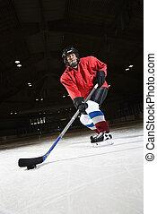 mujer, hockey, jugador