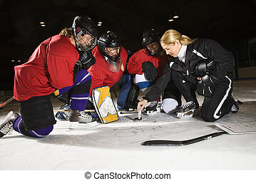 Women hockey players. - Women hockey players on ice looking...