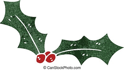 retro cartoon christmas holly