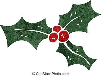 retro, cartone animato, Natale, agrifoglio