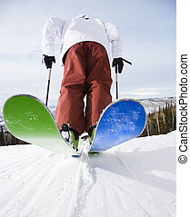Man on skis. - Rear view of mid-adult male on skis in...
