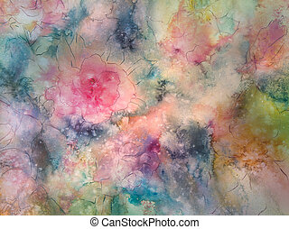 Softly Colored Floral - Peach, rose, green and gold form...