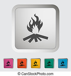 Bonfire. Single icon. Vector illustration.