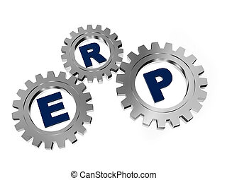 ERP in silver metal gears - ERP, enterprise resource...