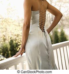femme, soir, robe