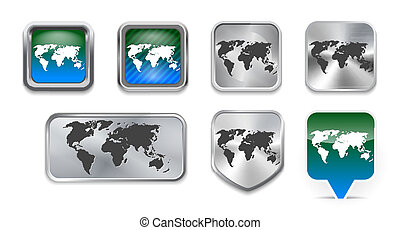 Collection of World map on brushed metallic and glossy...