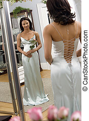 Attractive woman in gown.
