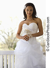 Bridal portrait. - Portrait of African-American bride...