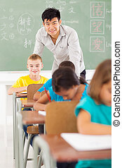 Chinese teacher and multiracial students in classroom