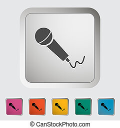 Microphone. Single icon. Vector illustration.
