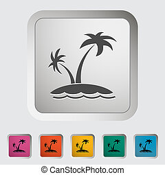 Palm tree. Single icon. Vector illustration.