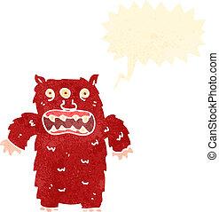 retro cartoon monster with speech balloon