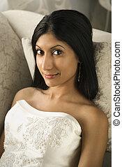 Bridal portrait. - Portrait of an Indian bride.