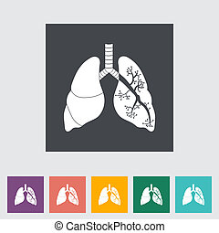 Lungs in Black and White. Single flat icon. Vector...