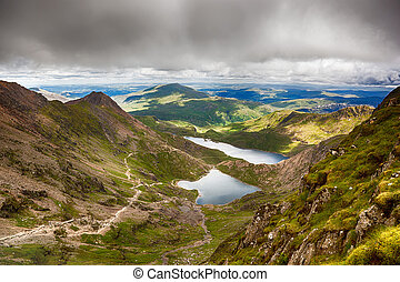 Stormy skies over Snowdonia, North Wales, UK