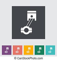 Piston single flat icon.
