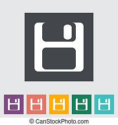 Magnetic floppy disc flat icon. Vector illustration.