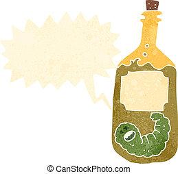retro cartoon tequila bottle with worm