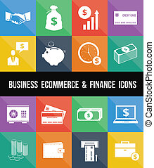 Stylish Business Ecommerce Banking and Finance Money Icons...
