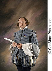 Shakespeare with feather pen - William Shakespeare in period...