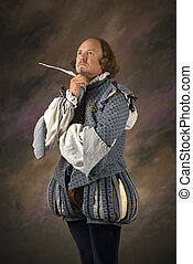 Shakespeare thinking with quill. - William Shakespeare in...