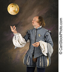 Shakespeare tossing globe. - William Shakespeare in period...