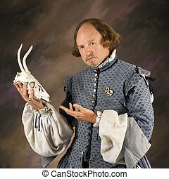 Shakespeare with deer skull. - William Shakespeare in period...