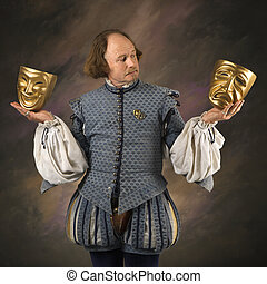 Shakespeare with theatrical masks - William Shakespeare in...