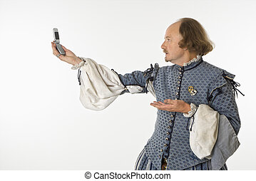 Shakespeare with cell phone - William Shakespeare in period...
