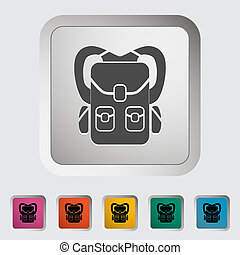 Rucksack. Single icon. Vector illustration.