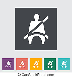 Seat belt. Single flat icon. Vector illustration.