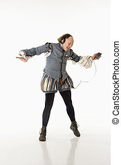 Shakespeare dancing to mp3s - William Shakespeare in period...
