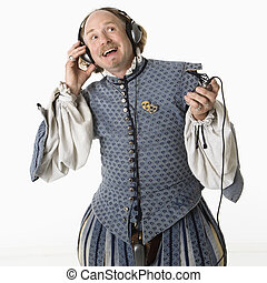 Shakespeare listening to headphones - William Shakespeare in...
