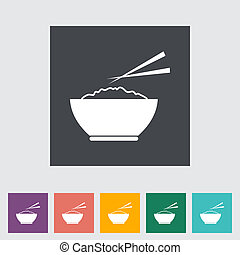 Rice flat icon - Rice. Single flat icon. Vector...