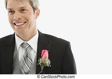 Groom in tuxedo. - Portrait of Caucasian male in tuxedo with...