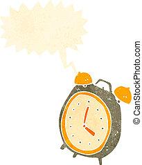 retro cartoon ringing alarm clock