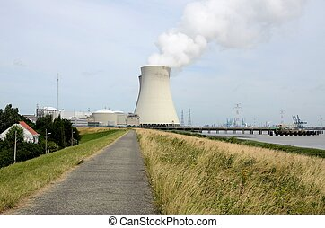Landscape with cooling tower - A landscape with cooling...