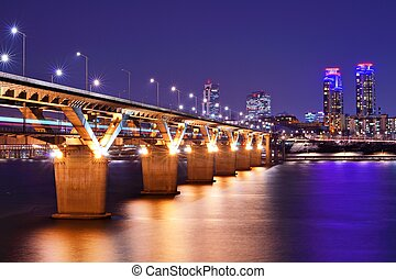 Han River in Seoul - Han River and Bridge in Seoul, South...