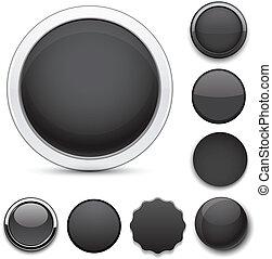Round black icons.