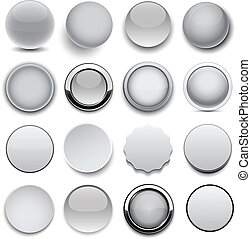 Round grey icons - Set of blank grey round buttons for...