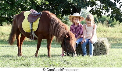 little girl and boy with pony horse on farm