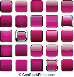 Square magenta app icons - Set of blank magenta square...