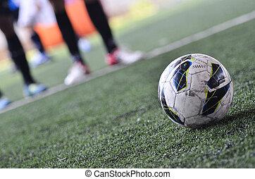 fútbol, libre, patada, verde, campo