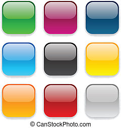 Square color icons. - Set of blank colorful square buttons...