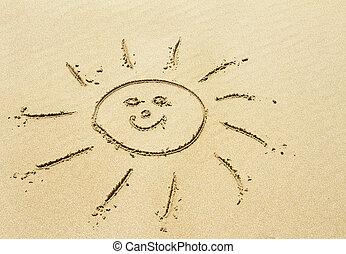 dourado, praia, desenho, arenoso, sol