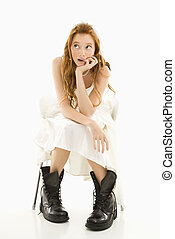 Bride wearing combat boots. - Portrait of Caucasian bride...