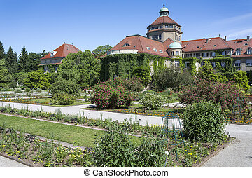 Botanical garden in Munich, Germany, with historic building